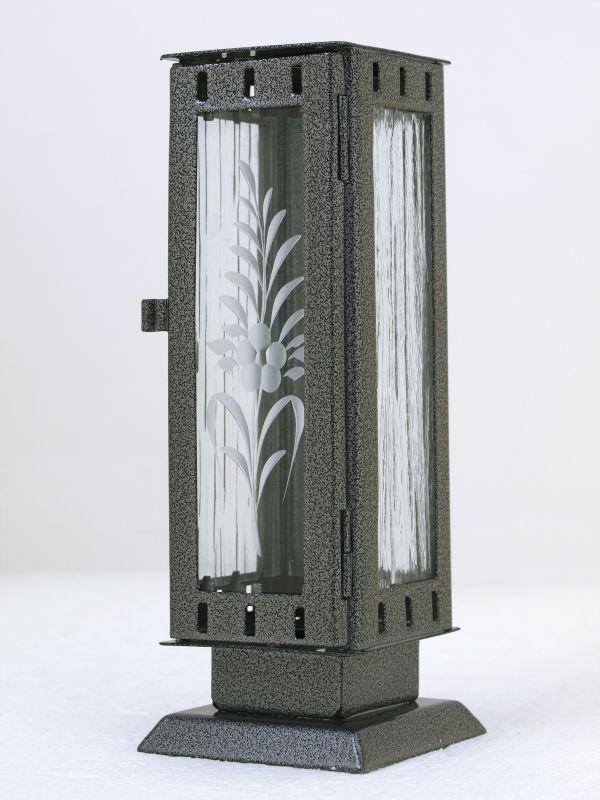 Nerezové výrobky na zakázku Náhrobní pomníková svítilna, lucerna malá rozměr 77x77x220mm v barvě starostříbro OEM Český výrobek.