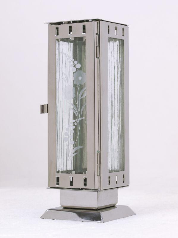 Nerezové výrobky na zakázku Náhrobní pomníková svítilna, lucerna malá rozměr 77x77x220mm v barvě leštěný nerez OEM Český výrobek.