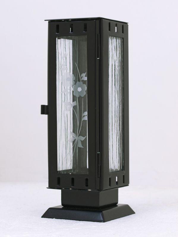 Nerezové výrobky na zakázku Náhrobní pomníková svítilna, lucerna malá rozměr 77x77x220mm v barvě černá matná OEM Český výrobek.