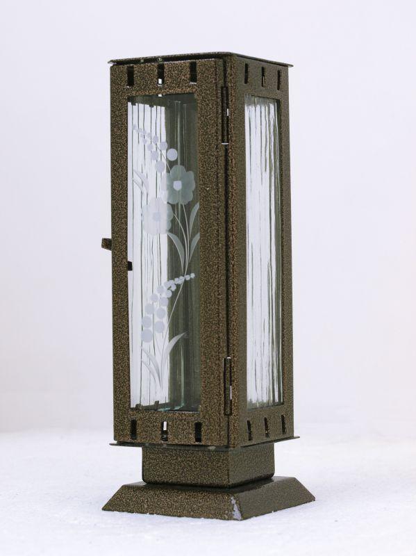 Nerezové výrobky na zakázku Náhrobní pomníková svítilna, lucerna malá rozměr 77x77x220mm v barvě starozlato OEM Český výrobek.