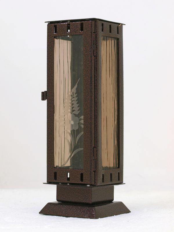 Nerezové výrobky na zakázku Náhrobní pomníková svítilna, lucerna malá rozměr 77x77x220mm v barvě staroměď OEM Český výrobek.