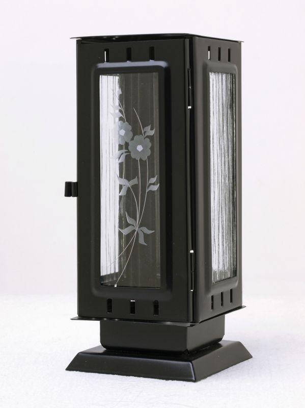 Nerezové výrobky na zakázku Náhrobní pomníková svítilna, lucerna střední rozměr 100x100x240mm v barvě černá matná OEM Český výrobek.