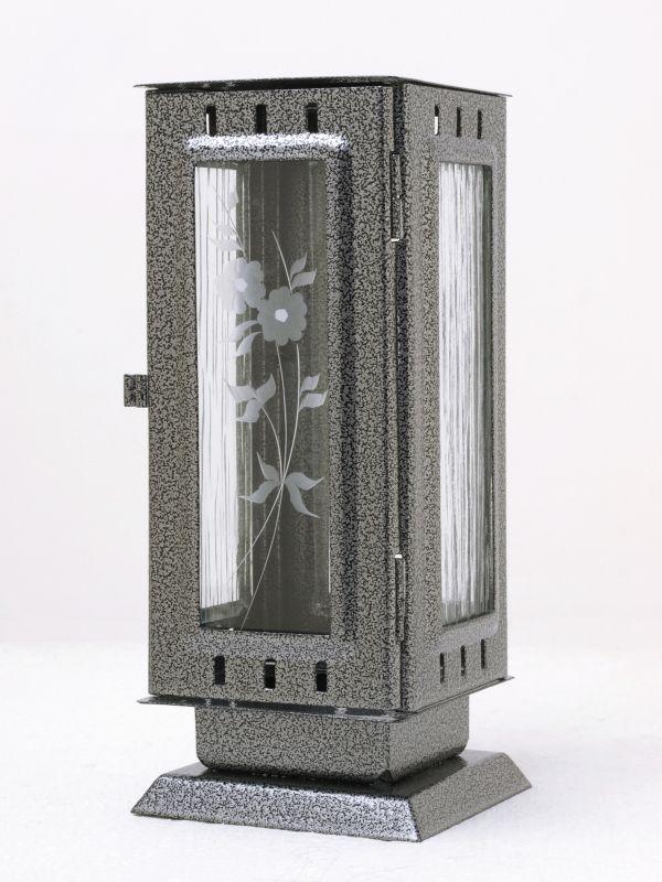 Nerezové výrobky na zakázku Náhrobní pomníková svítilna, lucerna střední rozměr 100x100x240mm v barvě starostříbro OEM Český výrobek.