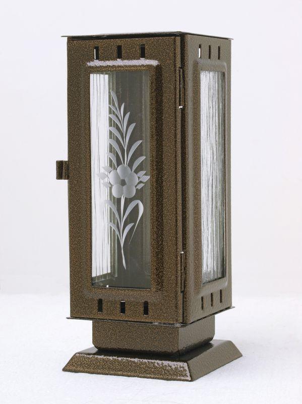 Nerezové výrobky na zakázku Náhrobní pomníková svítilna, lucerna střední rozměr 100x100x240mm v barvě starozlato OEM Český výrobek.