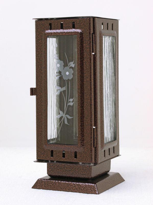 Nerezové výrobky na zakázku Náhrobní pomníková svítilna, lucerna střední rozměr 100x100x240mm v barvě staroměď OEM Český výrobek.