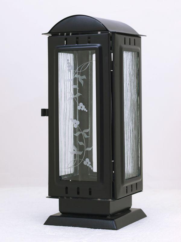 Nerezové výrobky na zakázku Náhrobní svítilna oblá stříška velká, černá 110x110x280mm OEM Český výrobek.