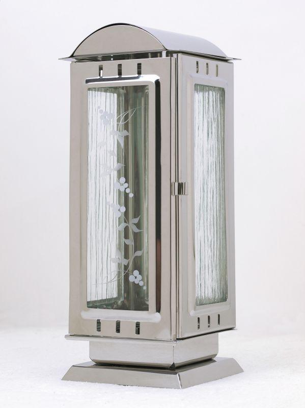 Nerezové výrobky na zakázku Náhrobní svítilna s oblou střechou, velká 110x110x280mm leštěný nerez OEM Český výrobek.