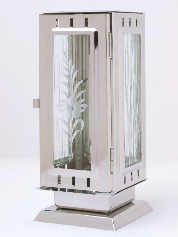 Nerezové výrobky na zakázku Náhrobní nerezová svítilna velká 110 x110 x 260 mm leštěný nerez, čtyřhranná rovná OEM Český výrobek.
