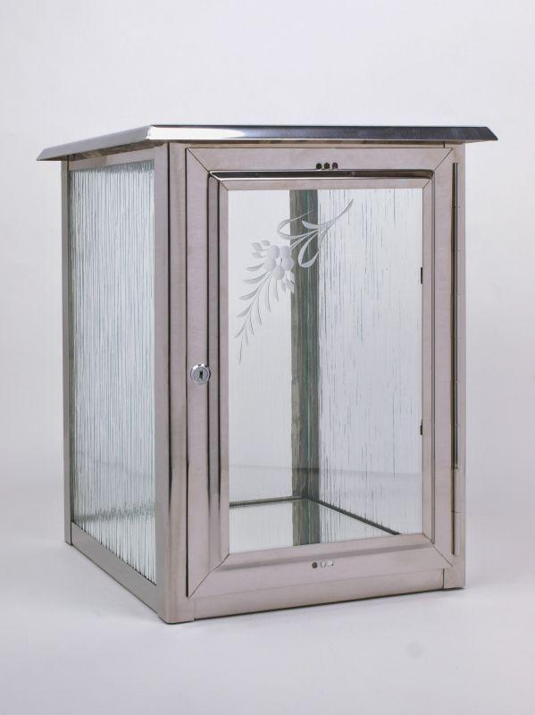 Nerezové výrobky na zakázku Skříň na jednu urnu leštěný nerez, rozměr š290 x h290 x v360 mm OEM Český výrobek.