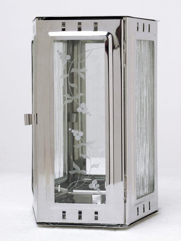 Nerezové výrobky na zakázku Svítilna závěsná lichoběžník 150 x 100 x 220 mm leštěný nerez OEM Český výrobek.