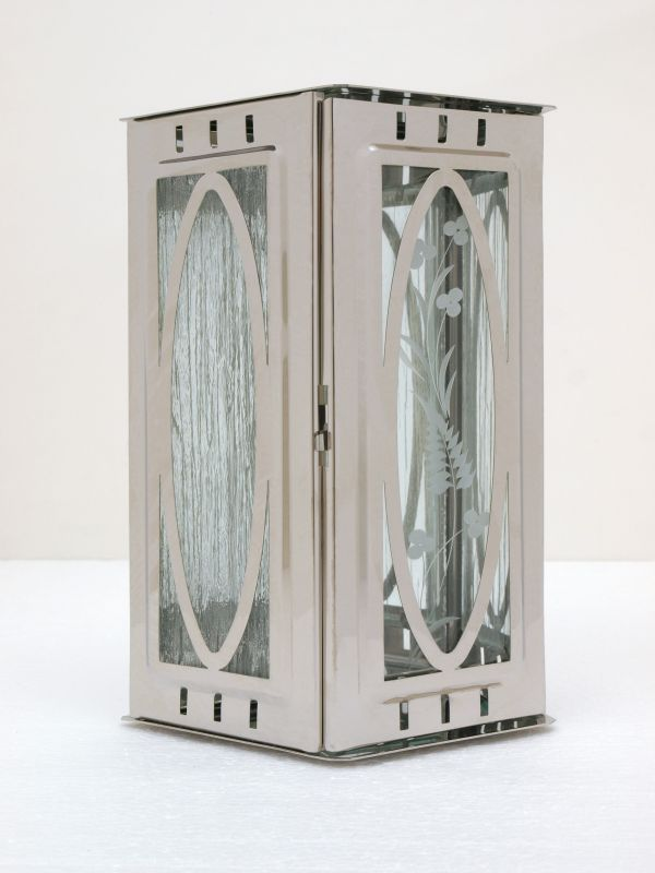 Nerezové výrobky na zakázku Svítilna závěsná malá s oválem 95 x 90 x 195 mm lesklý nerez OEM Český výrobek.