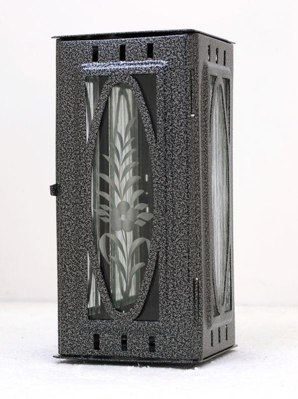 Nerezové výrobky na zakázku Svítilna závěsná malá s oválem 95 x 90 x 195 mm starostříbro OEM Český výrobek.