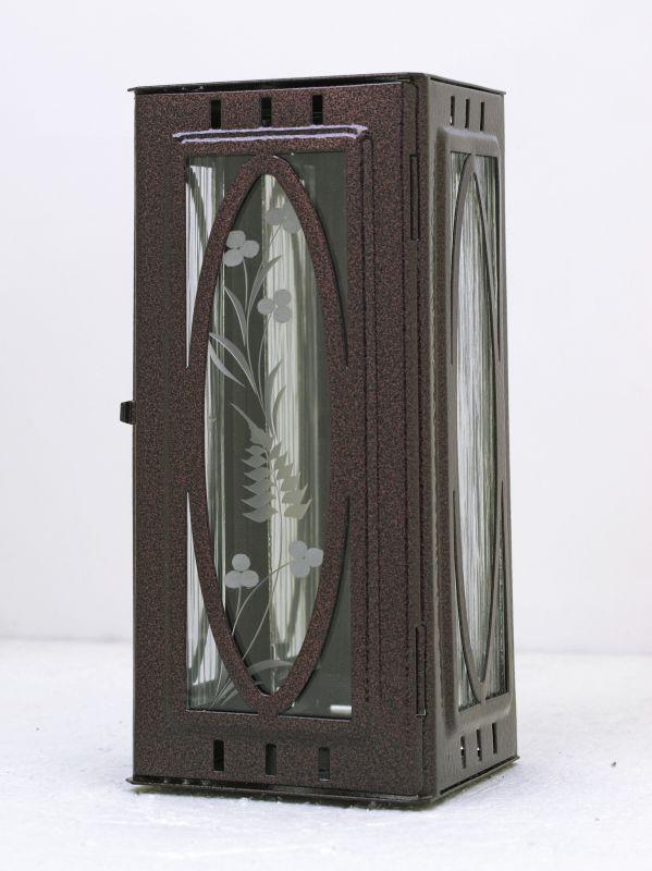 Nerezové výrobky na zakázku Svítilna závěsná malá s oválem 95 x 90 x 195 mm staroměď OEM Český výrobek.