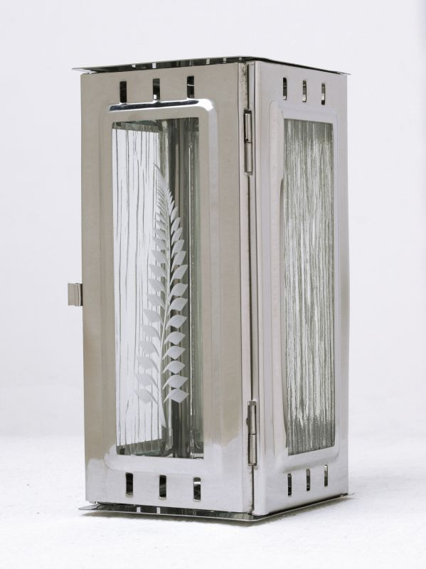Nerezové výrobky na zakázku Svítilna závěsná malá 95 x 90 x 195 mm lesklý nerez OEM Český výrobek.
